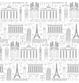 Europe travel seamless pattern vector image