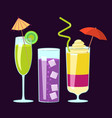 exotic alcoholic cocktails vector image vector image