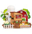 farm theme background with farm animals vector image