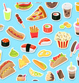 fast and junk kinds of food scattered on blue vector image vector image