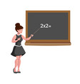 female teacher with blackboard isolated vector image