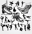 figure skating silhouettes vector image