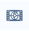 Film strip with play button sketch icon vector image vector image