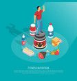 fitness nutrition supplements isometric poster vector image vector image