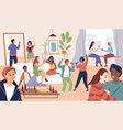 friends group party time in house happy vector image