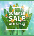 green blue botanical summer tropical sale flyer vector image