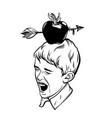 hand drawn of apple with arrow on boys head vector image vector image