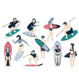 hand drawn surfers set men and women surfing vector image