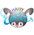 happy easter with easter bunny ears vector image