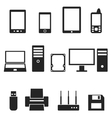 Icons of computer hardware and gadgets in the vector image vector image