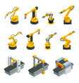 isometric set of robotic hand machine tool at vector image vector image