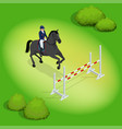 isometric young rider girl performing jump vector image