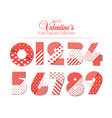 love font number set with hearts romantic and vector image vector image
