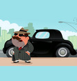 man standing in front his car vector image