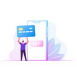 online payment concept man buyer hold huge credit vector image vector image