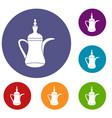 oriental teapot icons set vector image vector image