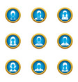 personnel icons set flat style vector image