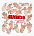 pop art male hands gesturing different signs vector image