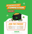 pot gold st-patricks day flyer template vector image vector image