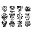 rap and hip-hop set of twelve black emblems vector image