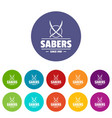 saber icons set color vector image vector image