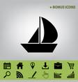 sail boat sign black icon at gray vector image vector image