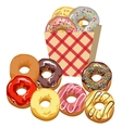Set Multi-colored donuts vector image vector image
