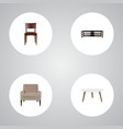 set of decoration realistic symbols with stool vector image