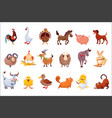 set of farm animals livestock and poultry vector image vector image