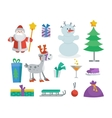 Set of Objects for Creation New Year Greeting Card vector image vector image