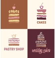 Set of patterns logos cakes vector image vector image