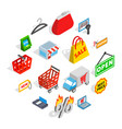 shopping icons set isometric 3d style vector image