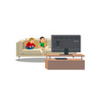 siblings playing video game at home vector image vector image