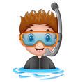 snorkeling boy cartoon vector image vector image