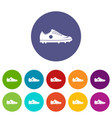 soccer shoe icons set flat vector image vector image