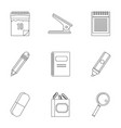 stationery related icon set outline style vector image vector image