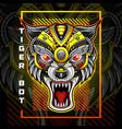 tiger head robot esport mascot logo design vector image vector image