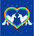 Two blue unicorn and rainbow in heart shape vector image