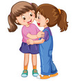two cute girls hugging each other vector image