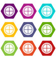 white round window icon set color hexahedron vector image vector image