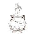 Witch kettle with potion vector image