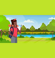 woman hiker with backpack drinking water african vector image vector image
