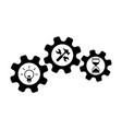 wrench and hammer hourglass and bulb nut vector image