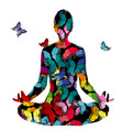 abstract woman silhouette in yoga pose with vector image