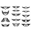 set of blank emblems with wings design elements vector image