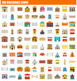 100 buildings icon set flat style vector image