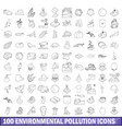 100 environmental pollution icons set vector image