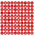 100 nursery school icons set red vector image vector image