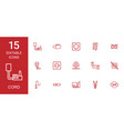 15 cord icons vector image vector image