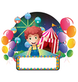 A boy with an empty signage in front of a carnival vector image vector image